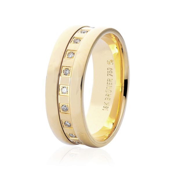 Aliança Ouro 18K Anatômica Trabalhada Diamantes 6,5mm