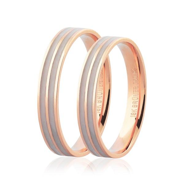 Par de Alianças de Ouro Rosé 18K com Detalhe Pigmentado 3,5mm
