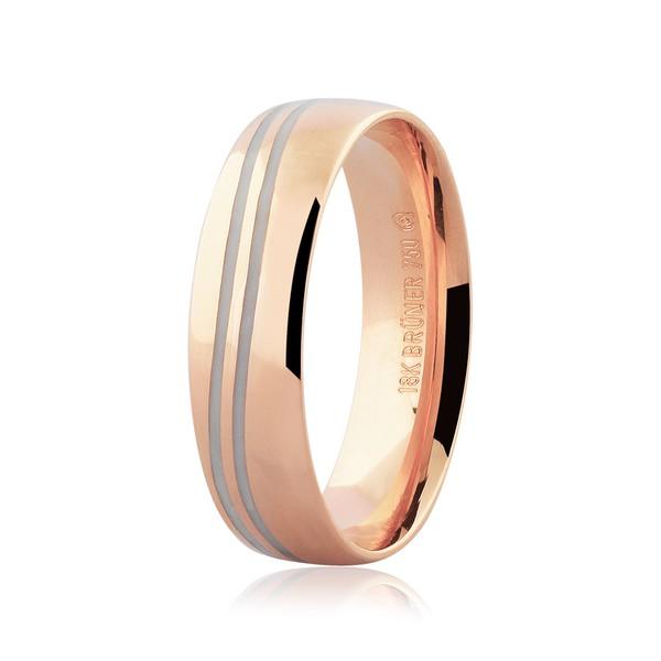 Aliança de Ouro Rosé 18K Detalhe Pigmentado 5,5 mm