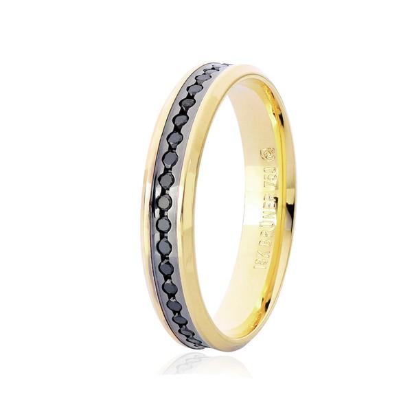 Aliança de Ouro 18K com Diamantes Negros e Detalhe Pigmentado