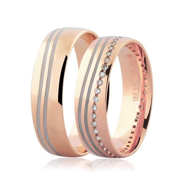 Par de Alianças Ouro Rosé 18K Detalhe Pigmentado e Brilhantes 5,5 mm
