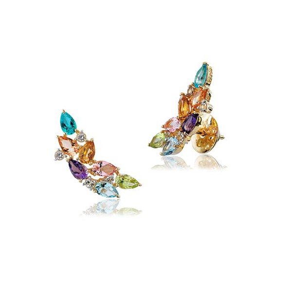 Brinco EarCuff de Ouro 18K com Pedras Naturais Coloridas