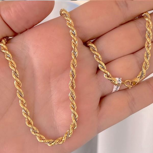 Cordão Torcido de Ouro 18K Tricolor 45cm