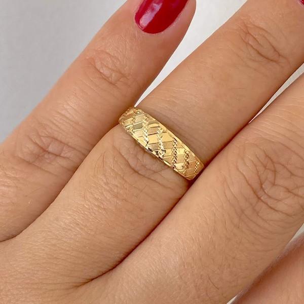 Anel de Ouro 18K Diamantado, Polido e Fosco