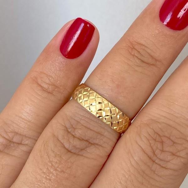 Anel de Ouro 18K Fino Fosco e Diamantado