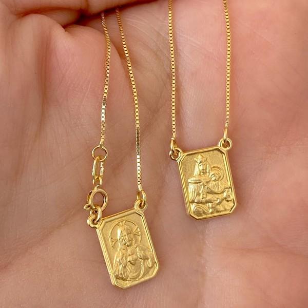 Escapulário de Ouro 18K Clássico 50cm