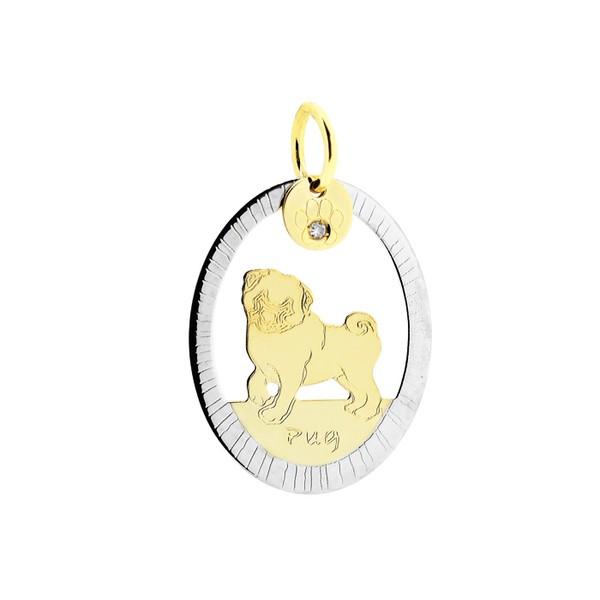 Pingente Cachorro Pug Bicolor em Ouro 18K