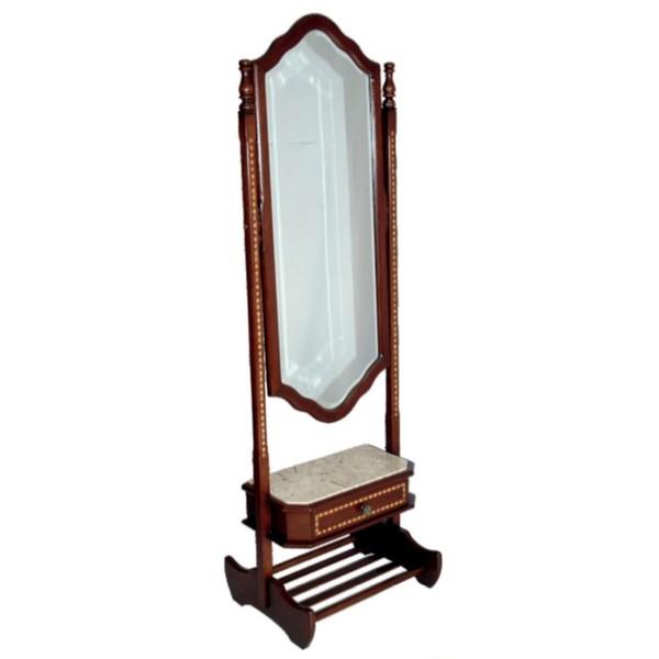 Espelho Vertical Donzela Em Madeira Maciça e Marchetaria