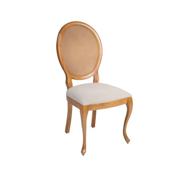Cadeira com pé luis XV e encosto em tela da linha Aurora