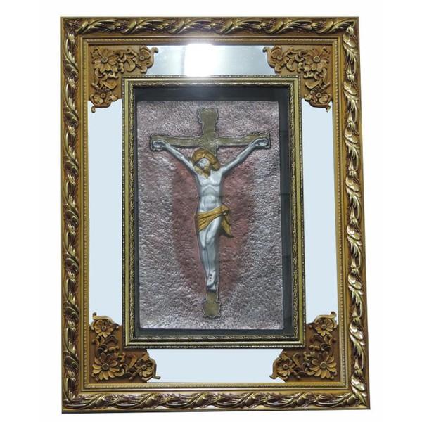 Quadro Jesus Crucificado - Moldura Dourada