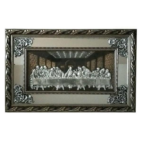 Quadro Santa Ceia Com Espelho 90x57cm - Moldura Prateada