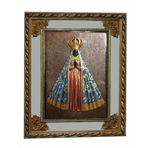 Quadro Nossa Senhora Aparecida Com Espelho - Moldura Dourada
