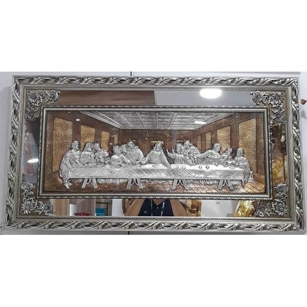Quadro Santa Ceia Com Espelho 118x63cm - Moldura Prateada