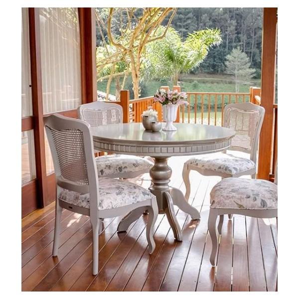 Conjunto Mesa de Jantar Elegance Redonda com 4 Cadeiras Bourbon
