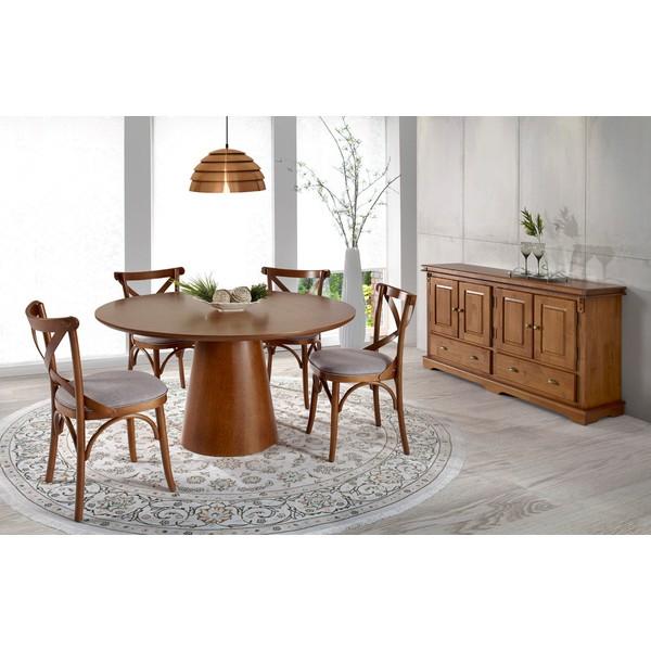 Sala de jantar com Mesa Redonda 1,56m, 4 Cadeiras e Balcão