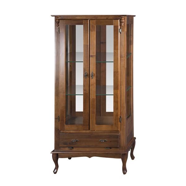Vitrine 2 Portas com espelho e Prateleiras de vidro - Pés Luiz XV