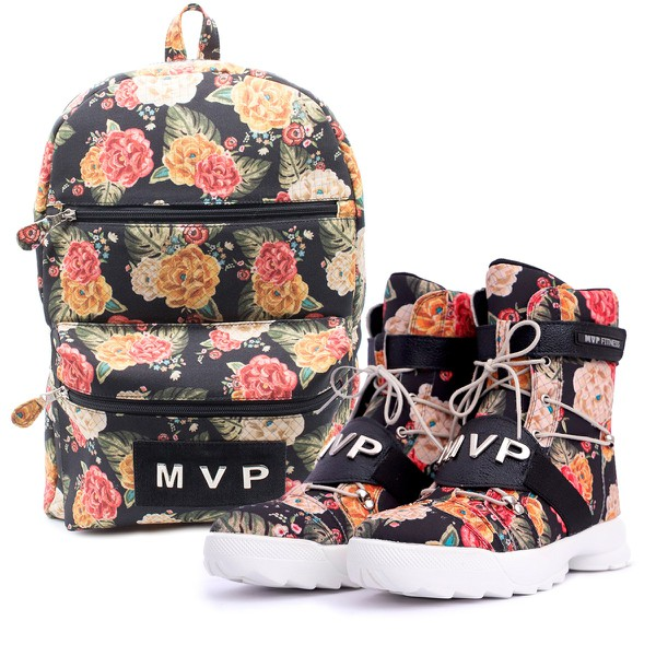 KIT Mochila Club Fashion + Tênis MVP Thunder Fit - Floral Buque