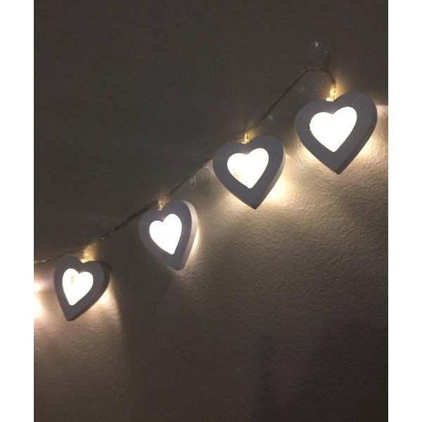 Cordão de Luz Varalzinho LED Coração De Madeira Cromus