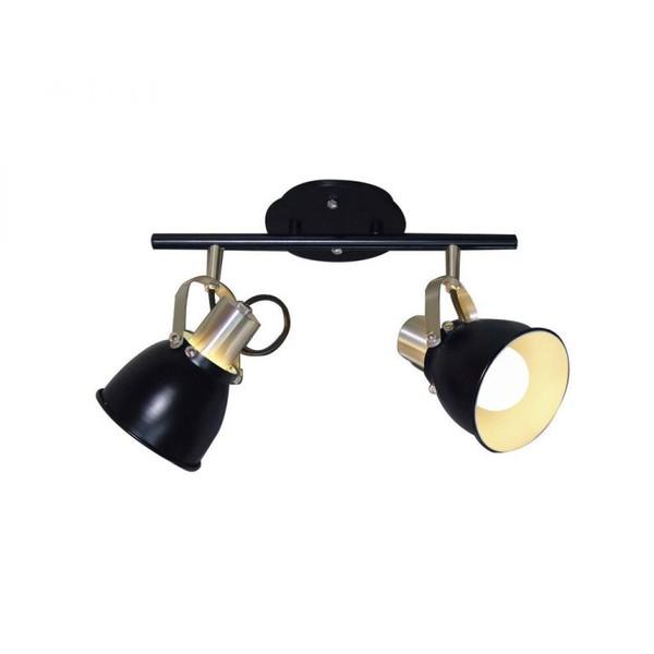 Luminária Spot Trilho Flex Alumínio Preto 2 Lâmpadas