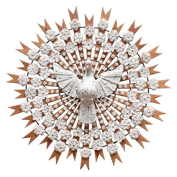 Divino Espírito Santo Resplendor com Esculturas de Flores 1,20 M.