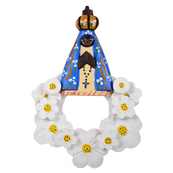 Arranjo Vazado Nossa Senhora com Flores Brancas
