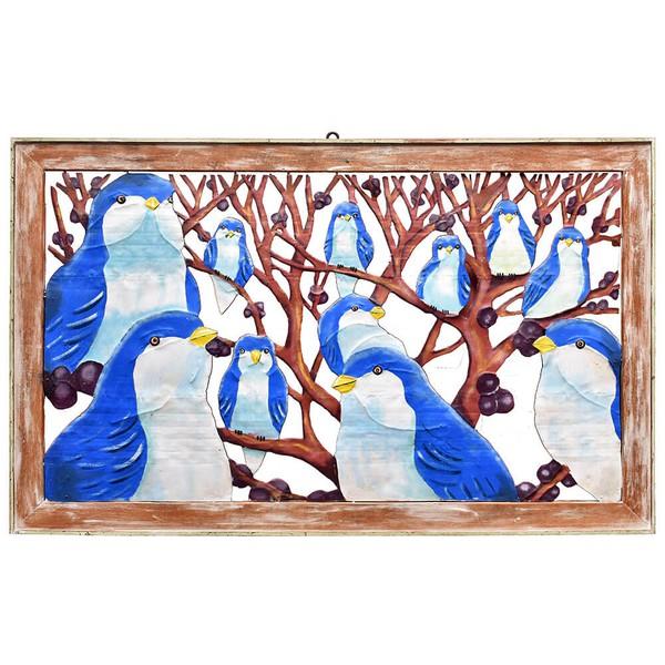 Quadro Vazado Grande de Pássaros Azuis