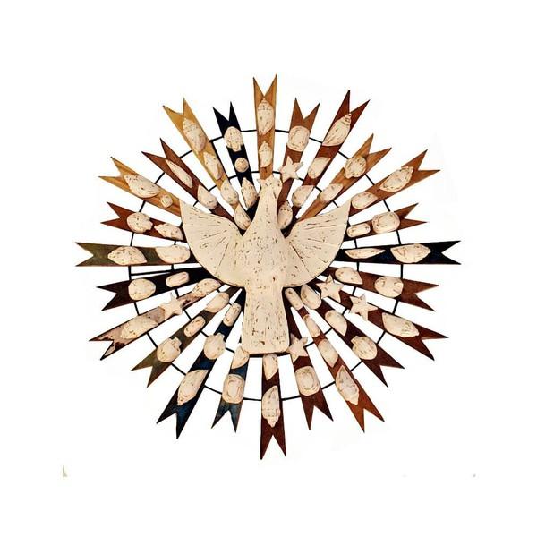 Divino Espírito Santo Resplendor com Esculturas em Madeira de Conchas 1,00 M.