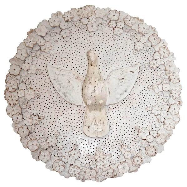 Luminária Divino com Flores Brancas 1,00m.