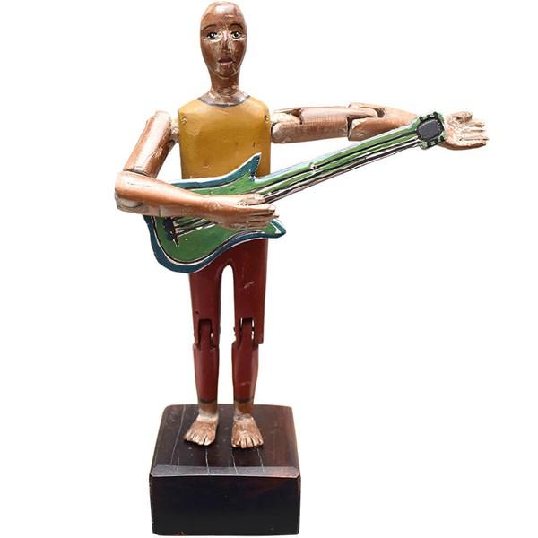 Escultura Boneco com Guitarra - Coleção 'Bonecos Instrumentistas'
