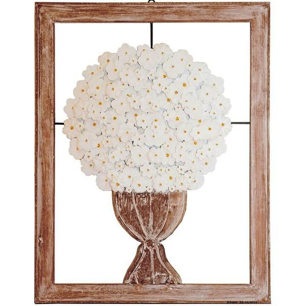 Quadro Médio de Ânfora com Flores Brancas