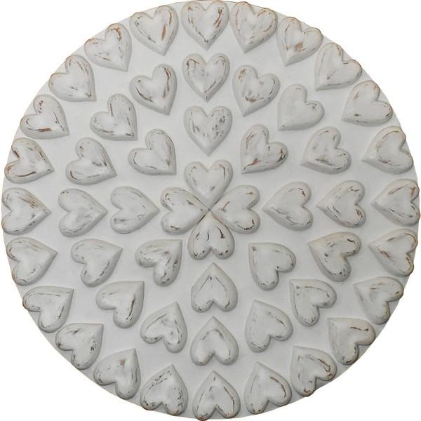 Painel Mandala de Corações Brancos