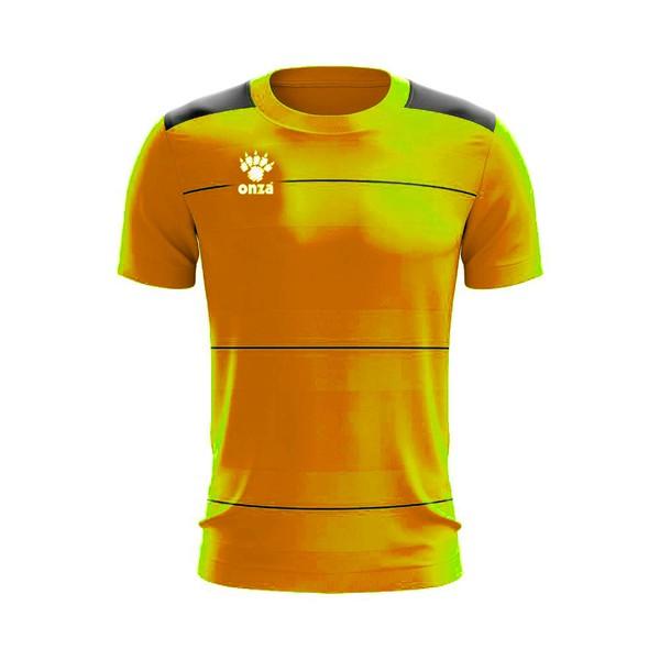 Camisa Jogo - Amarela celeste com detalhe de listra no peito
