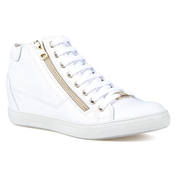 Tênis Sneakers Detalhe Furinhos e Zíperes Lateral Branco- Salto 4,5 Cm