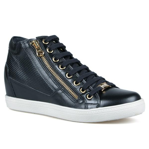 Tênis Sneakers Detalhe Furinhos E zíperes Lateral Preto-Salto 4,5 cm
