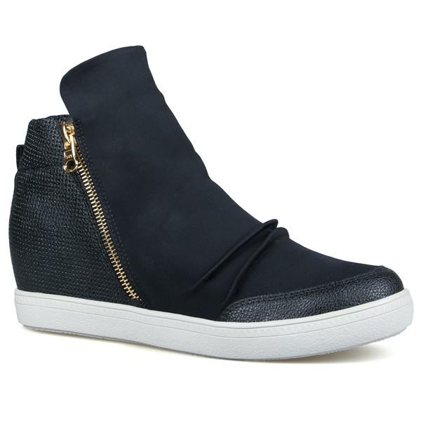 Tênis Sneakers Em Fibra Têxtil Elástica E Zíper Lateral Preto-Salto 4,5 cm