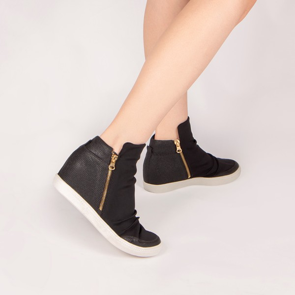 Tênis Siena Sneakers Detalhe Furinhos e Zíperes Lateral Salto 4,5 Cm