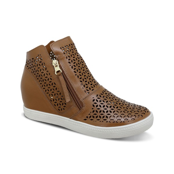 Sneakers Laser Geométrico Caramelo - Salto 4,5 Cm