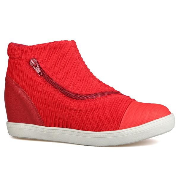 Sneakers Biqueira De Borracha e ZÍper Diagonal Vermelho - Salto 3,5 Cm