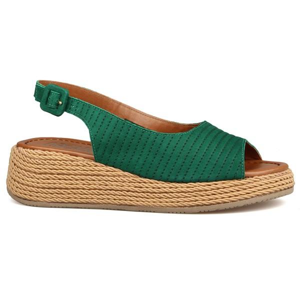 Flat Form Chanel Estampa Cotele Verde Bandeira - Salto 5 Cm