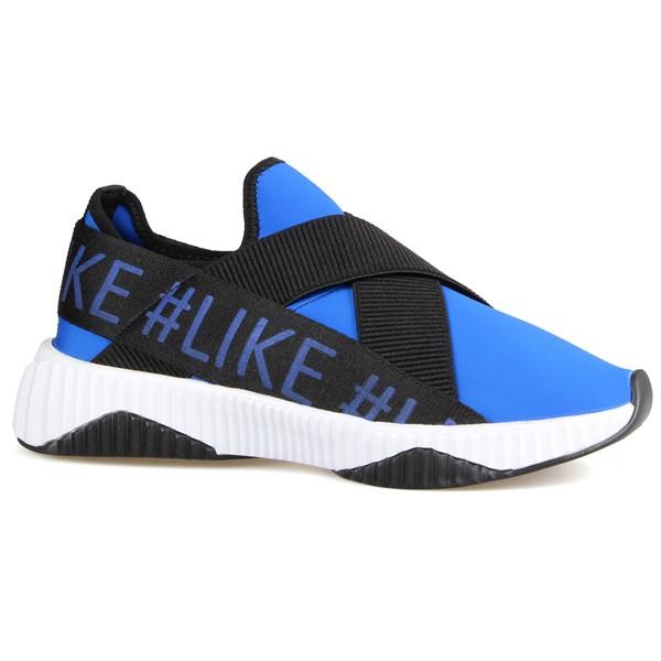 Tênis Detalhe Em Elástico Canelado e #like Azul Bic