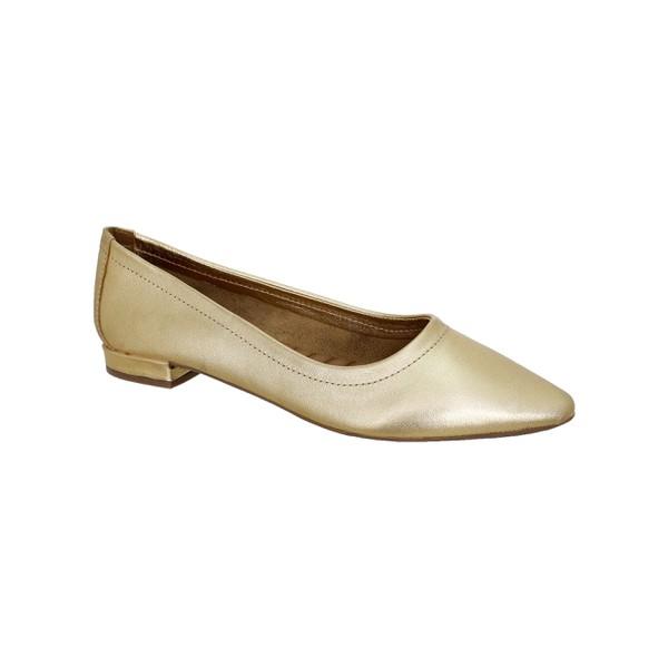 Flat Comfort Bico Fino ouro - Salto 1,5 Cm