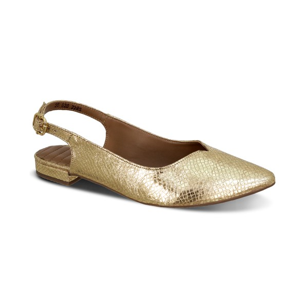 Flat Confort Bico Fino Chanel Ouro - Salto 1,5 Cm