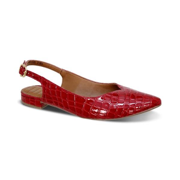 Flat Confort Bico Fino Chanel Vermelho - Salto 1,5 Cm