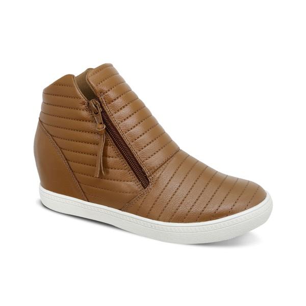 Sneakers Matelassê Caramelo - Salto 3,5 Cm