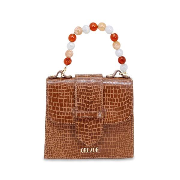 Mini Bag Estruturada em Couro Caramelo