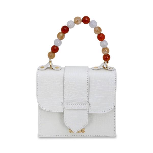 Mini Bag Estruturada em Couro Off White