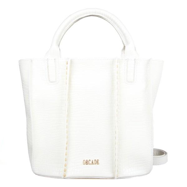 Bolsa Bucket em Couro Aplicação De Tachas Off White