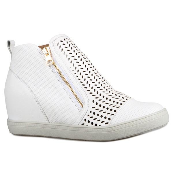 Tênis Siena Sneakers Laser e Zíper Lateral Branco Salto 4,5 Cm