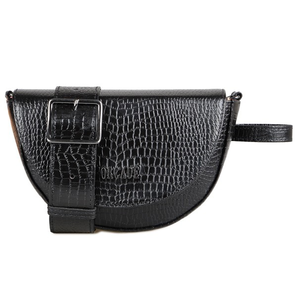 Belt Bag Mais Alça Transversal Em Couro Preta