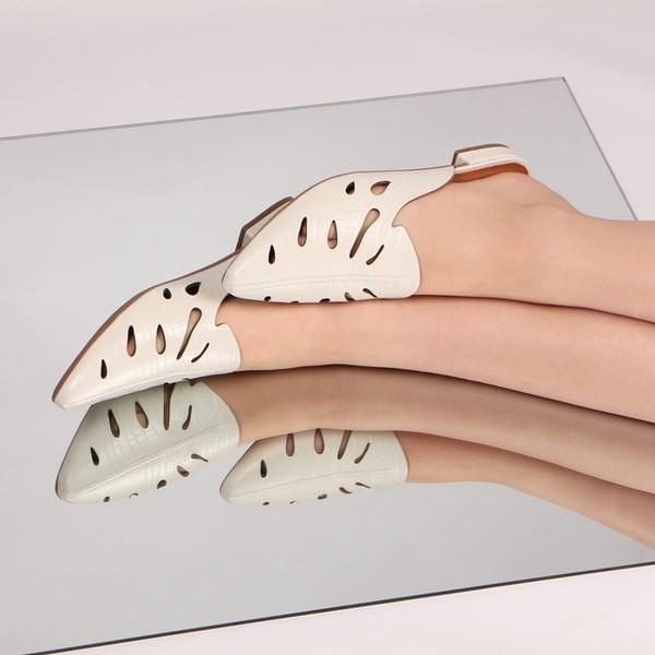 Flat Mule Pietra Folhagem Off White Salto 1,5cm